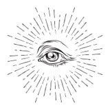 Hand-drawn grunge sketch Eye of Providence. Masonic symbol. All seeing eye. New World Order. Conspiracy theory. Alchemy, religion, Royalty Free Stock Photos