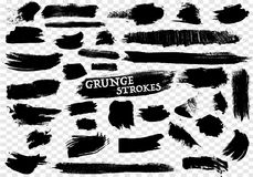 40 Hand Drawn Grunge Strokes Set Stock Images