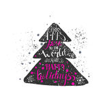 Hand drawn grunge style Christmas tree Stock Images