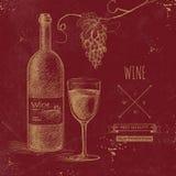 Hand drawn grunge wine background Stock Images