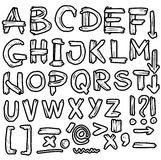 Hand drawn grungy font, doodles Royalty Free Stock Images