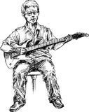 Hand drawn guitar player Royalty Free Stock Photo