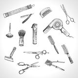 Hand drawn hairdressers professional tools. Barber Stylist Tools set. Vector barber shop vintage collection. Retro Illustration in ancient engraving style Royalty Free Stock Image
