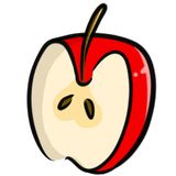 Hand-Drawn Half Apple Illustration Clipart Stock Image