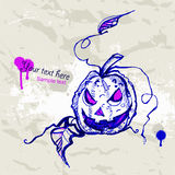 Hand drawn Halloween Background with Pumpkin. Stock Image
