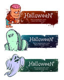 Hand-drawn halloween banners Royalty Free Stock Images