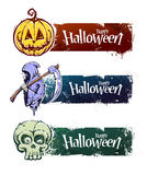 Hand-drawn halloween banners Royalty Free Stock Photos