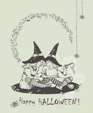 Hand drawn Halloween card with two witches in black hats Royalty Free Stock Photography
