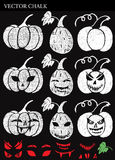 Hand Drawn Halloween Chalk Pumpkins Set Stock Images