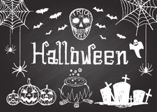 Hand drawn halloween on chalkboard Royalty Free Stock Photos