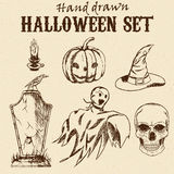 Hand Drawn Halloween characters set. Set of Halloween characters and objects. Hand drawn holiday symbols Royalty Free Stock Photo