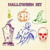 Hand Drawn Halloween characters set. Set of Halloween characters and objects, notebook background. Hand drawn holiday symbols Royalty Free Stock Image