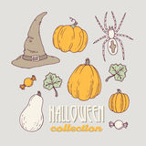 Hand drawn halloween clip art collection Stock Images