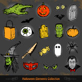 Hand drawn Halloween doodles collection set Royalty Free Stock Images
