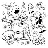 Hand drawn halloween graphic symbols ink collection stock illustration