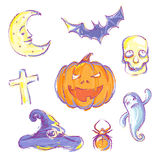 Hand drawn Halloween icons Stock Images