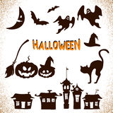 Hand drawn Halloween icons set. Royalty Free Stock Photos