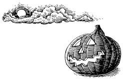 Hand-Drawn Halloween Jack O Lantern Stock Images