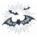 """Hand drawn Halloween label with textured vector illustration and lettering. Hand drawn Halloween label with textured bats vector illustration and """"Make your own Stock Images"""
