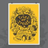 Hand drawn Halloween lettering poster Stock Photography