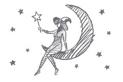 Hand drawn Halloween magic girl sitting on Moon. Vector hand drawn Halloween magic girl concept sketch. Halloween girl in cap sitting on Moon in sky with stars Stock Images
