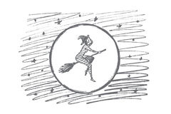 Hand drawn Halloween magic woman flying on broom. Vector hand drawn Halloween magic woman concept sketch. Halloween naked woman in cap flying on broom stick in Royalty Free Stock Image