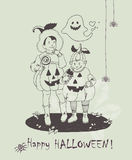 Hand drawn Halloween poster with cute kids in Halloween scary costumes and ghost. Royalty Free Stock Images