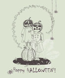 Hand drawn Halloween poster with cute kids in Halloween scary costumes. Royalty Free Stock Photo