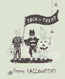 Hand drawn Halloween poster with kids in Halloween scary costumes. Halloween greeting card. Hand drawn Halloween poster with kids in Halloween scary costumes Royalty Free Stock Image