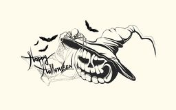 Hand drawn halloween pumpkin stock illustration