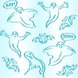 Hand drawn Halloween seamless pattern. Halloween seamless pattern with doodle ghosts and bats Royalty Free Stock Image