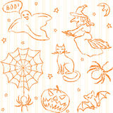Hand drawn Halloween seamless pattern Stock Images