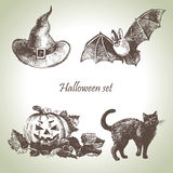 Hand drawn halloween set. In vintage style Royalty Free Stock Photo