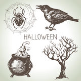 Hand drawn halloween set Royalty Free Stock Images