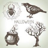 Hand drawn halloween set. Vector illustration Royalty Free Stock Images