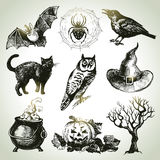 Hand drawn halloween set Stock Photography