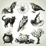 Hand drawn halloween set. Vector illustration Stock Photography