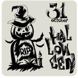 Hand drawn Halloween sketch set Stock Photos