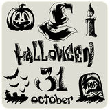 Hand drawn Halloween sketch set Royalty Free Stock Photography