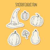 Hand drawn halloween sticker collection Stock Photography