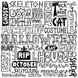 Hand-drawn halloween text words Royalty Free Stock Photos