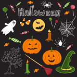 Hand drawn halloween theme cartoon design elements Royalty Free Stock Photos
