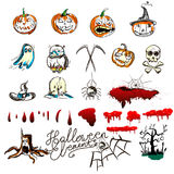 Hand drawn Halloween traditional symbols. Doodle style illustrations: carved pumpkin, spider webs,. Bat, Isolated vector on white Royalty Free Stock Photography