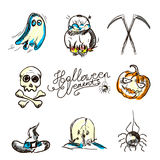 Hand drawn Halloween traditional symbols. Doodle style illustrations: carved pumpkin, spider webs,. Bat, Isolated vector on white Royalty Free Stock Image