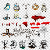 Hand drawn Halloween traditional symbols. Doodle style illustrations: carved pumpkin, spider webs,. Bat, Isolated vector on white Royalty Free Stock Photos