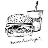 hand drawn hamburger Stock Photo