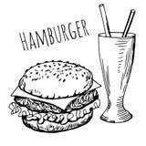 hand drawn hamburger Stock Photography