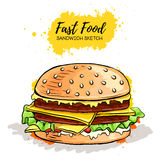 Hand drawn Hamburger or Sandwich Royalty Free Stock Images