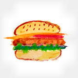 Hand Drawn Hamburger, watercolor Sketch Royalty Free Stock Photos