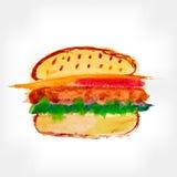 Hand Drawn Hamburger, watercolor Sketch Royalty Free Stock Photos